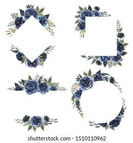 set of floral frame watercolor floral navy blue