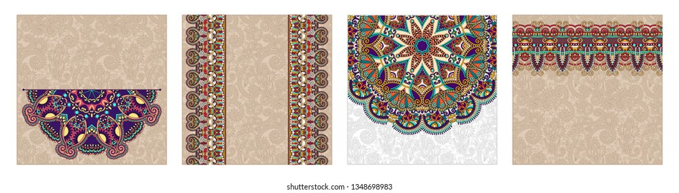 set of floral round pattern in indian kalamkari oriental ethnic style for your greeting card or invitation, template frame design for card, vintage lace doily, raster version illustration