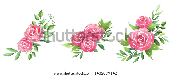 Set flower rose and leaves for wedding card.Wedding ornament concept. Floral poster, invite.Watercolor design card.Greeting card or invitation design background.