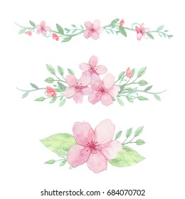 Set of flowers, leaves and branches traditional drawing and painting by watercolor on white background