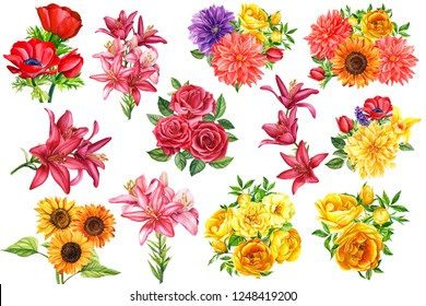 set of flowers, watercolor illustration, botanical painting, beautiful multi-colored flower bouquets, flora design,  collection of dahlias, sunflowers, carnations, burgundy lilies, anemone, roses
