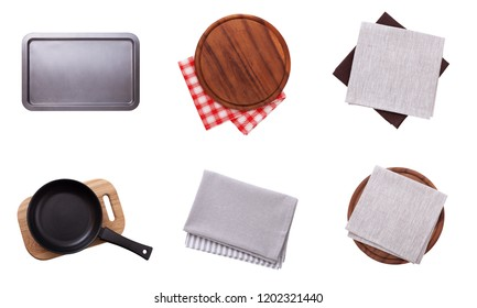 Set food accessories. Pizza board, napkin and tablecloth, pan and tray isolated on white. Top view mockup.