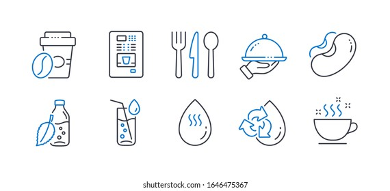 Set of Food and drink icons, such as Recycle water, Food, Water bottle, Restaurant food, Beans, Coffee vending, Takeaway coffee line icons. Refill aqua, Cutlery. Line recycle water icon.