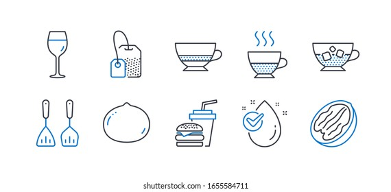 Set of Food and drink icons, such as Water drop, Wine glass, Doppio, Tea bag, Cooking cutlery, Hamburger, Macadamia nut, Bombon coffee, Cold coffee, Pecan nut line icons. Line water drop icon.