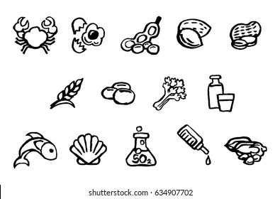 Set of food safety allergy icons including allergies outlined by EU Food Information Consumers Regulation EFSA European Authority. Encompass FDA Major Allergens. Painted in ink in hand drawn style.