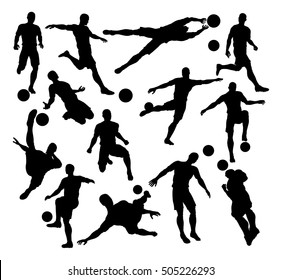 A set of Football Soccer Player Silhouettes in lots of different poses