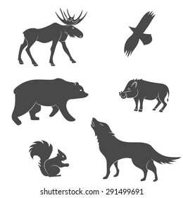 Set of forest animals silhouettes. Bear, eagle, squirrel, wolf, pig, moose, deer