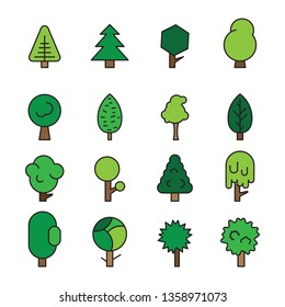 Set forest trees, evergreens coniferous trees and pine isolated on white background illustration illustration. Green color forest trees illustration image