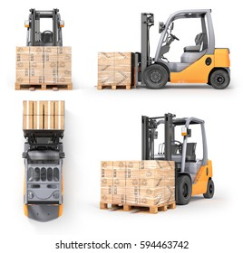 Set of forklift with boxes in a pallet in different view. Isolated white background. 3d illustration