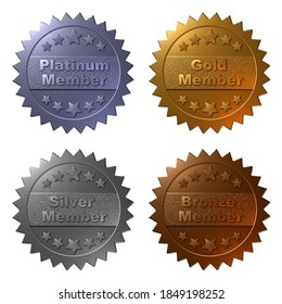 A set of four 3D membership medals in Platinum, Gold, Silver and Bronze