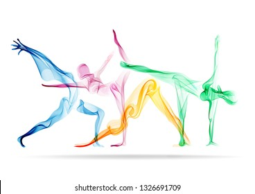 Set of four abstract woman silhouette, yoga poses, asana, bright, modern illustration over white background
