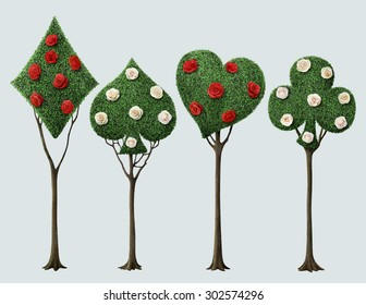 Set of four bizarre trees with card suits and roses