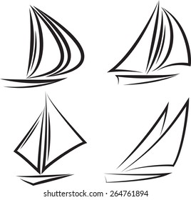 Set of four black silhouette sailboats