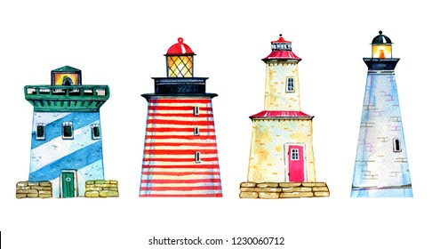 Set of four colorful cartoon lighthouses. Hand drawn watercolor illustration isolated on white background