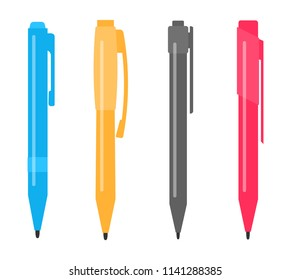 Set of four different multi-colored pens.