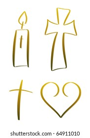 Set of four gold-colored illustrations relating to religion and christianity; included are candle, cross (crucifix), heart