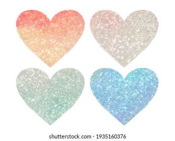 set of four hearts, glitter and shine, multicolor, pastel shades and with ombre and gradient effect