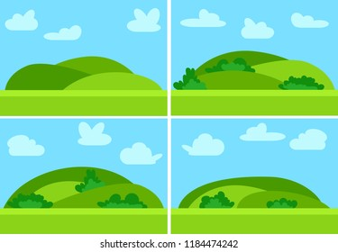 Set of four images with natural cartoon landscapes in the flat style with green hills, blue sky  and clouds at sunny day.