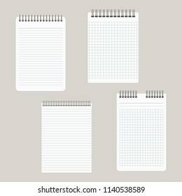 Set of four notepads with a binding from above