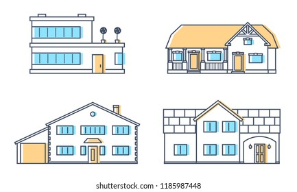 Set of four residention houses. Living cottage set. Apartament building. Home facade with doors and windows. Real estate buildings.  Raster copy.