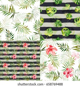 Set with four seamless patterns with watercolor tropical flowers and leaves. Striped background. Can be used for gift wrapping, background of web pages, as a print for any printing products.