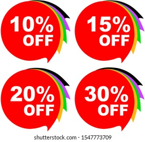 A set of four signs in red announcing a number of different percentage discount.