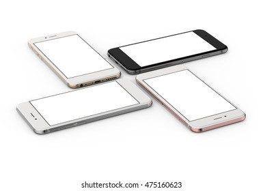 Set of four smartphones gold, rose, silver and black with blank screen, isolated on white background. 3d illustration.