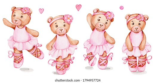 Set of four teddy bears ballerina and pink elements; watercolor hand draw ilustration; can be used for baby shower or cards; with white isolated background