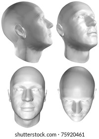 Set of Four Views of a Human Head at the Different Angles on White Background. With Clipping Path. 3D render