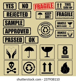 Set of fragile sticker handle with care and case icon packaging symbols sign, rejected, approved, pass, keep dry, do not litter, sample and this side up rubber stamp on beige background.