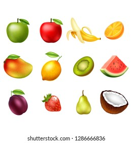 set of Fruits isolated on white background. Design elements