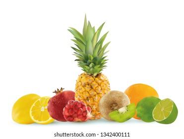 Set fruits, pineapple, lemon, kiwi, lime, pomegranate, orange, bones pomegranate. Set of six fruits