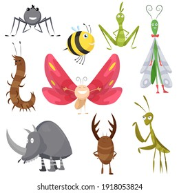 Set of funny cartoon insects isolated on white. bee, butterfly, spider, wasp, mantis, dragonfly, rhinoceros beetle, characters. Collection happy comic bugs. Colorful hand drawn illustration