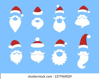 Set of funny cute Santa Claus masks. Beard, red hat and moustache. Flat  illustration