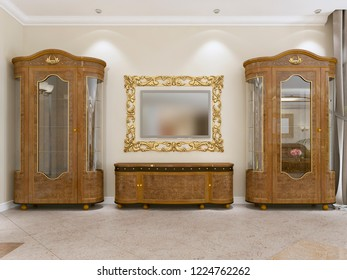 A set of furniture in a classic style in a modern living room. Sideboard with media storage and TV. 3D rendering.