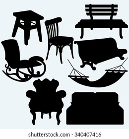 Rocking Chair Silhouette. Set Of Furniture: Rocking Chair, Stool, Sofa,  Bench