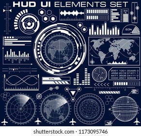 Set of futuristic graphic user interface HUD. Infographic design UI elements and radar screens. Head up display raster illustration.