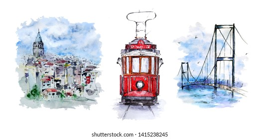Set with Galata Tower, nostalgic tram and Bosphorus Bridge, Istanbul, Turkey. Watercolor sketches on white background. Hand painted elements perfect for print, poster, card making and travel design.