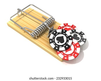 Set of gambling casino chips, like bait, in wooden mousetrap. 3D rendering illustration, isolated on white background.