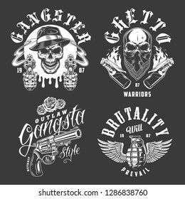 Set of gangster emblems in monochrome style.  illustration