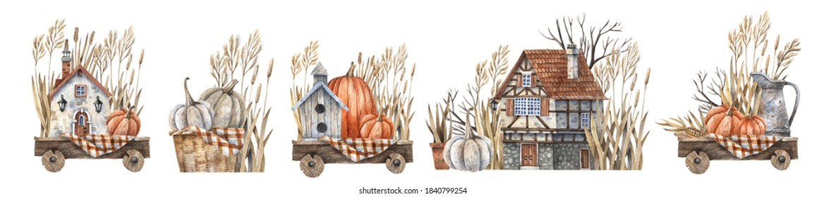 Set of garden decor wicker baskets with herbs and pumpkins, rural house with a wooden door, ceramic pots painted in watercolor. Watercolor autumn illustration isolated on white background