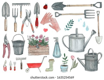 Set of garden elements for design. Hand-drawn watercolor illustration. Potted plants, watering can, shovel, chopper, dig, gloves, gardening, wire cutters, scissors. Gardening on the plot.
