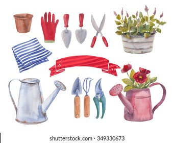 set garden object isolated on white background. Hand paint watercolor flowers in pots. Can be used as texture for cards, invitations, DIY projects, web sites or for any other design.