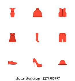 Set of garment icons flat style symbols with sneakers, sundress, heeled shoe and other icons for your web mobile app logo design.