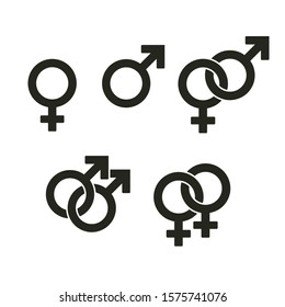 Set of gender symbols and relationship icons isolated on white background. Interlocked female and male signs symbolize straight and gay couples.