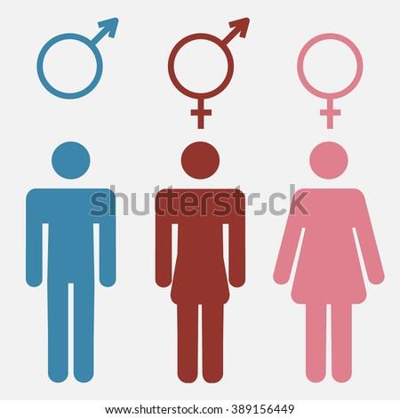 Set Gender Symbols Stylized Silhouettes Male Stock Illustration