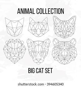 Set of geometric cat tiger lion puma head isolated on white background vintage design element illustration