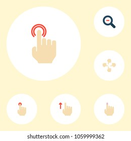 Set of gesticulation icons flat style symbols with magnifier, multitouch, soft touch and other icons for your web mobile app logo design.