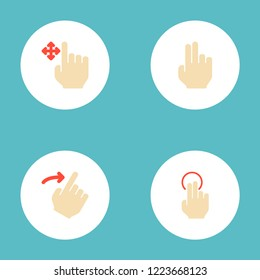 Set of gestures icons flat style symbols with nudge, right, finger and other icons for your web mobile app logo design.