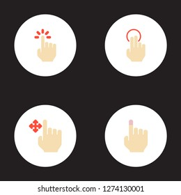 Set of gestures icons flat style symbols with soft touch, drag, nudge and other icons for your web mobile app logo design.